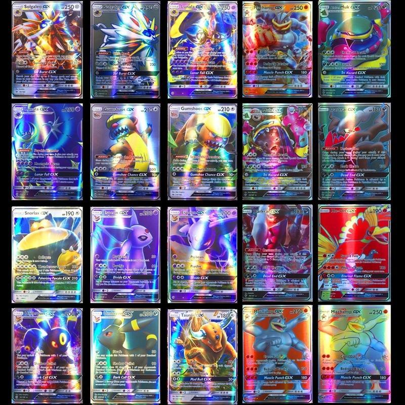 Drôle 200 pièces GX 25 50 100 pièces MEGA brillant cartes jeu bataille Carte cartes à collectionner jeu enfants Pokemons jouet