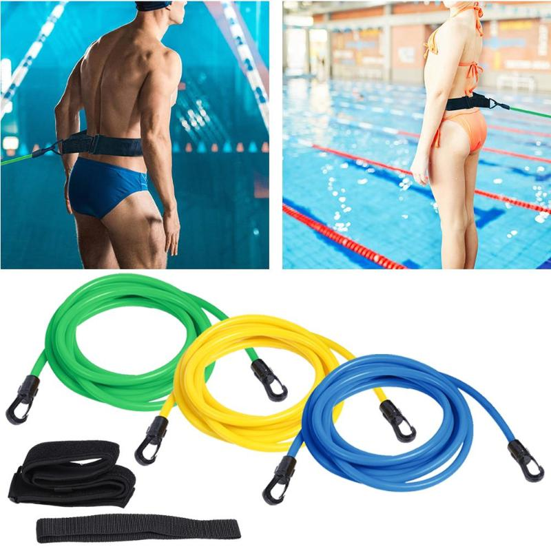 Adjustable Swim Training Resistance Belt Adult Kids Swimming Exerciser Safety Rope Latex Pocket Safety Swimming Pool Accessories