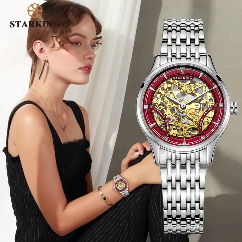 STARKING Mechanical Watch Women Luxury Stainless Steel Hollow Skeleton Automatic Ladies Watch Chinese Hodinky Damske 5ATM AL0185