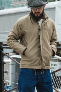 Image 2 - Vintage Bronson USN N 1 데크 자켓 WW2 군복 오토바이 남성 코트 3 색