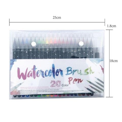 20 pcs set cores aquarela pen set escova escrita cor desenho pintura mistura capaz de
