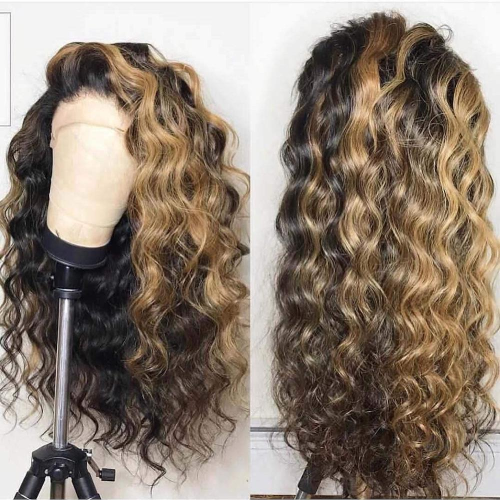 1B Honey Blonde Highlights Loose Wave Human Hair 13x4 Lace Front Wigs 150% Density Glueless Bleached Knots Full Lace Wig