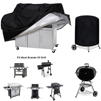 купить BBQ Cover Outdoor Dust Waterproof Weber Heavy Duty Grill Cover Rain Protective outdoor Barbecue cover round bbq grill black в интернет-магазине