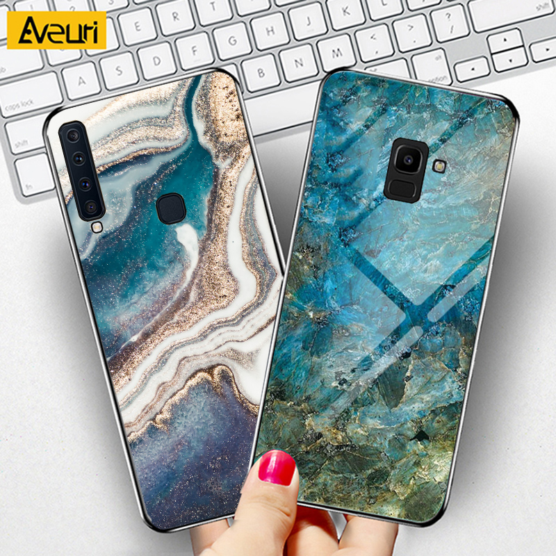 Luxury Marble Glass Phone Case For <font><b>Samsung</b></font> Galaxy A5 A7 2017 <font><b>A520</b></font> J4 J6 A6 A8 Plus A9 A7 2018 M10 M20 M30 M30S <font><b>Cover</b></font> Case Coque image