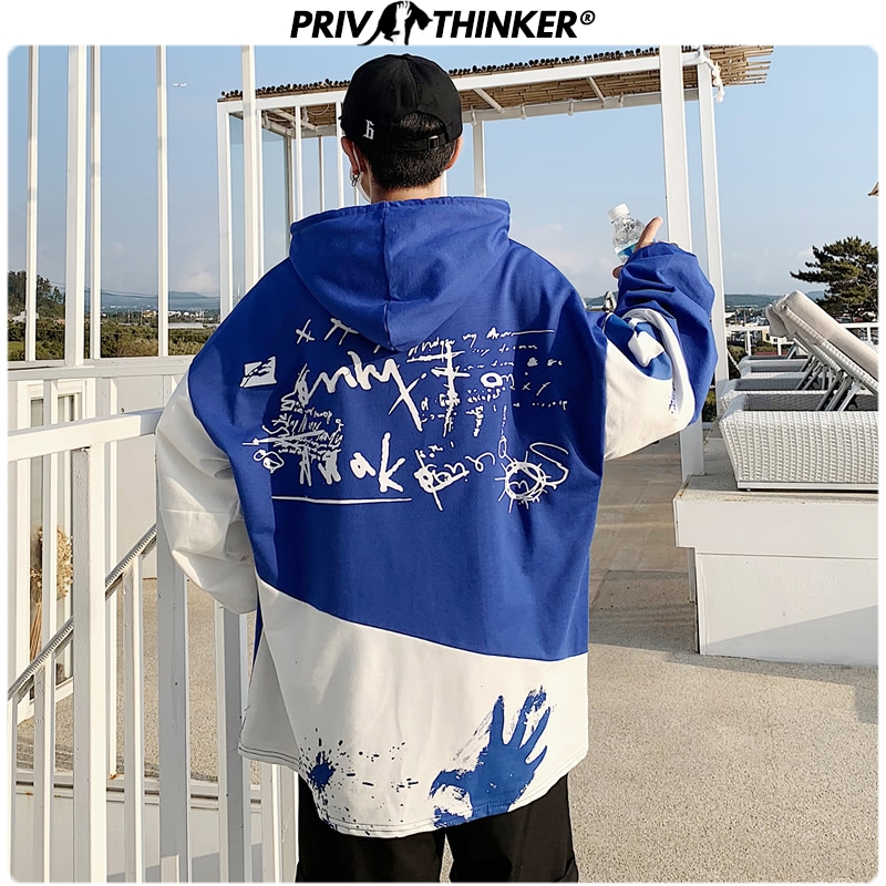 Privathinker 2019 Men's Patchwork High Street Pullovers Hoodie Men Autumn Hooded Colorful Hip Hop Sweatshirts Male Oversize Tops