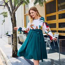 2019 Autumn Plus size Women Print Dress Casual Maple Print Green Long Sleeve Dress 3XL 4XL Large Size Elegant Female Party Dress paintbrush print plus size dress