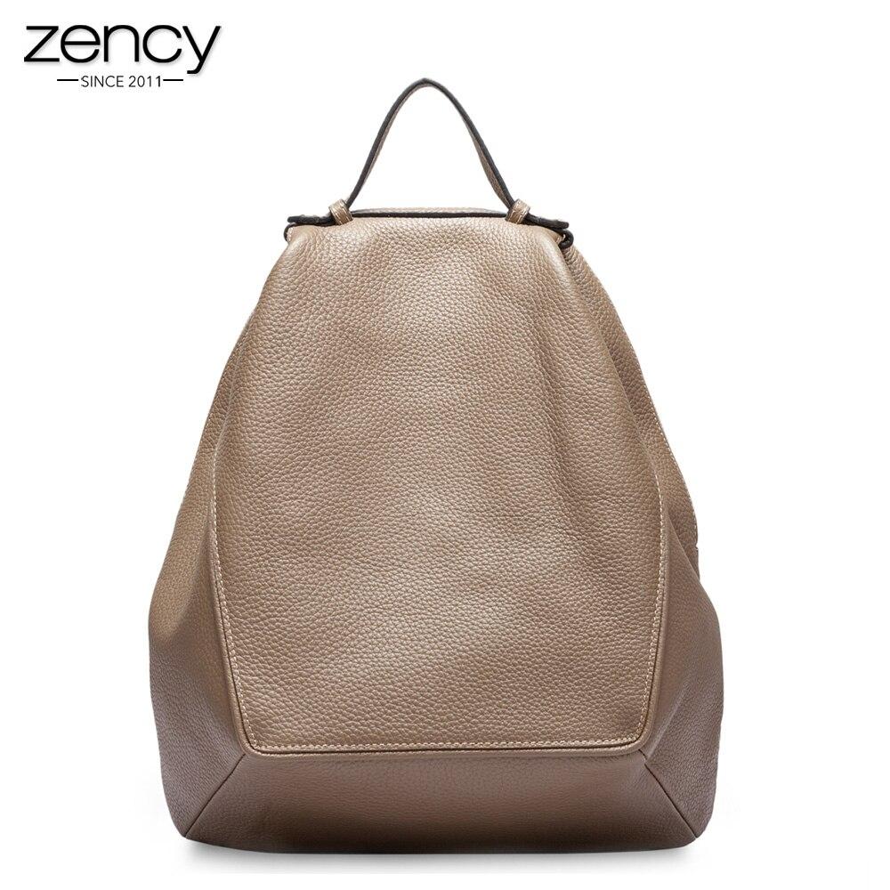 Zency Large Capacity Women Backpack 100% Genuine Leather Female Travel Bag Schoolbag For Girls Fashion Knapsack Irregular Khaki