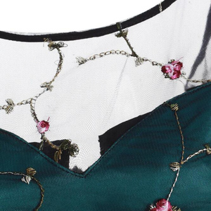 Image 4 - Tonval Çiçek Işlemeli Örgü Tatlım Parti Elbise Kadınlar Lace Up Geri Yüksek Düşük Hem Fit ve Flare Bayanlar Zarif Elbiseler