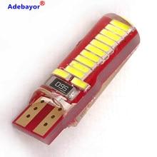 100 pces t10 194 w5w led canbus 4014 24 smd sílica super brilhante led lâmpadas cunha 12v dc luz bidirecional branco