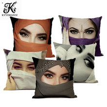 Fashion Girl Cushion Cover 45*45 Home Art Decoration Pillow Flax Beautiful Girls Eye Pattern Double-sided Printing