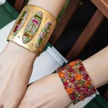 Bangle-Cuff Bracelet Dubai Wedding-Party Gold-Color Cubic-Zirconia-Crystal Fashion Women
