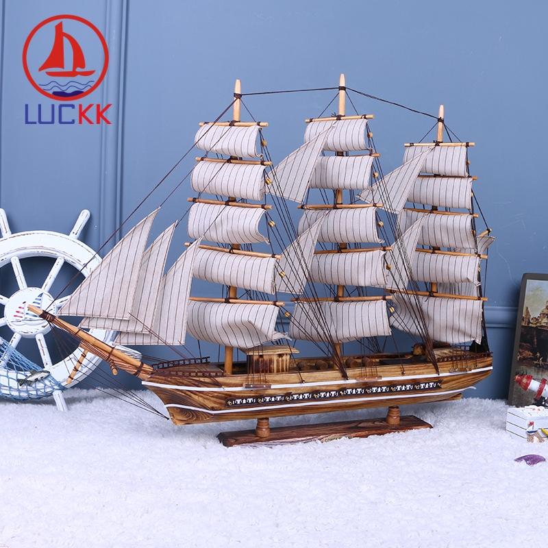 LUCKK 80CM Mediterrean Style Wooden Sailboat Model Vintage Striped Decor For Home Interior Marien Wood Retro Craft Accessories