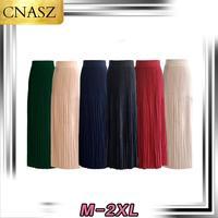 2019 Muslim Fashion Large Size Skirt Solid Color High Waist Muslim Pleated Skirt Turkish Dubai Islamic Clothing