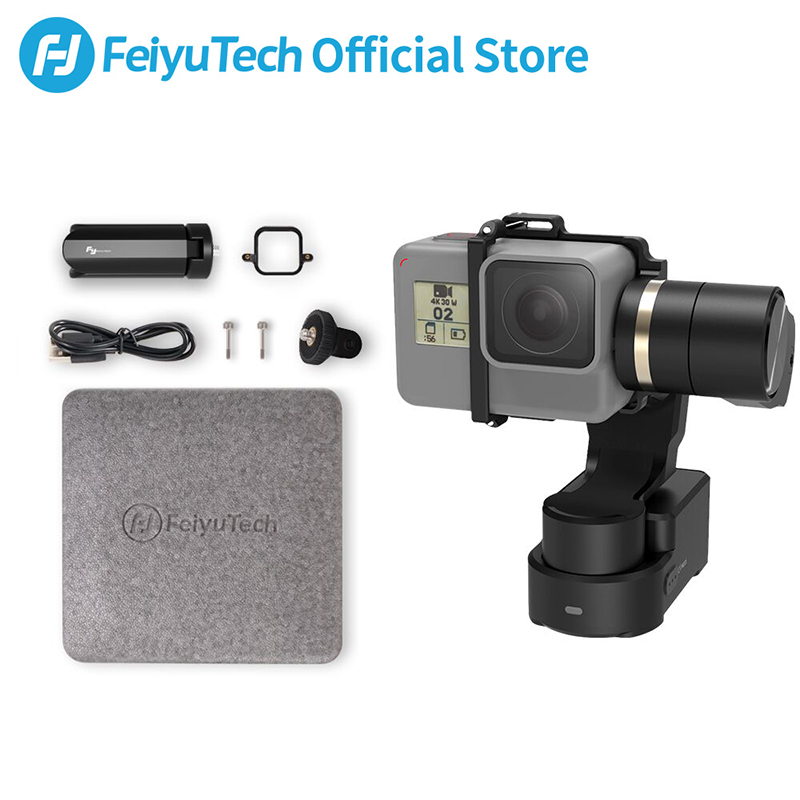 Feiyutech wg2x splash-proof ação câmera estabilizador 3d wearable & mountable gimbal tripé para sony rx0 gopro hero 7 6 5