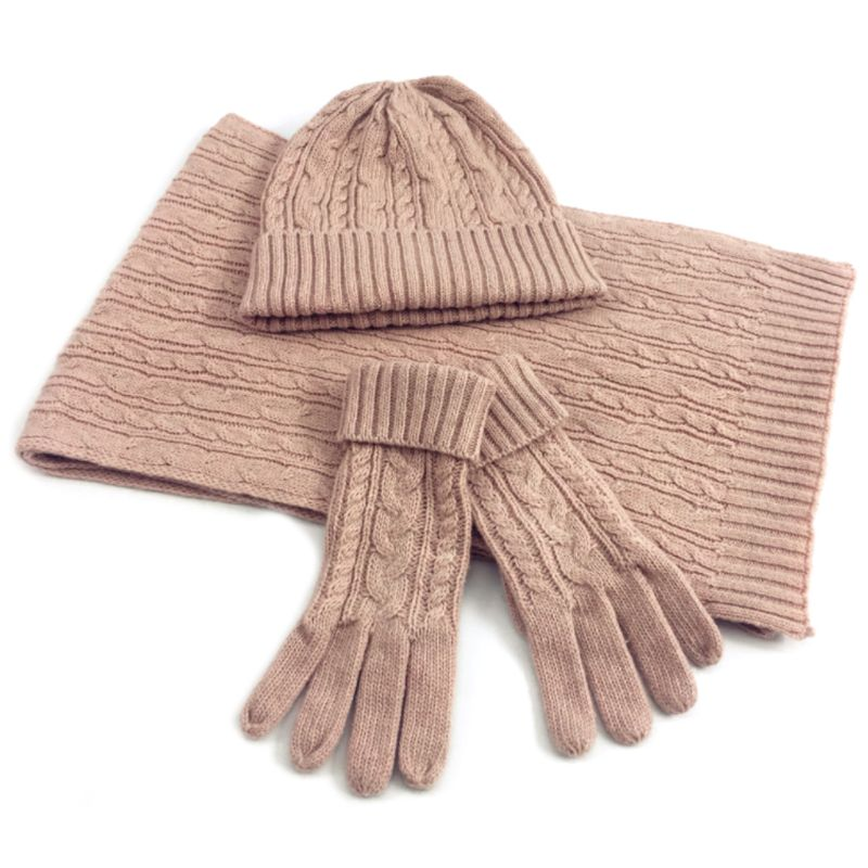 Women Twist Braided Cable Knit Solid Color Warm Scarf Beanie Hat Gloves 3Pcs Set 24BC