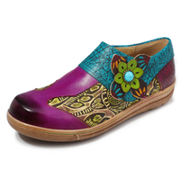 2020 Folkways Floral Pattern Genuine Leather Splicing Jacquard Comfortable Flat Women Shoes Elegant Ladies Shoes Sfy24