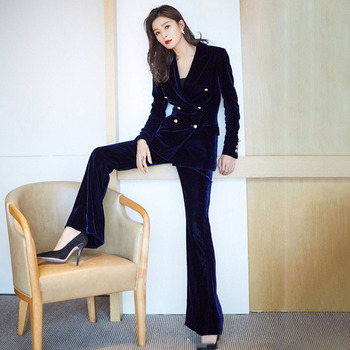 Velvet Uniform Women Pant Suits 2 Piece Set slim Blazer Jacket Office lady business Celebrity Evening Runway Party Suit uniform business pant suits formal jacket and pant blazer set women office lady 2 two pieces suits uniform ka1089