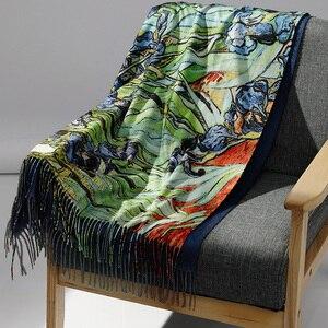 Image 1 - Pashmina de cachemir largo cálido de doble cara para mujer, pañuelos de pintura al óleo, chal, para invierno