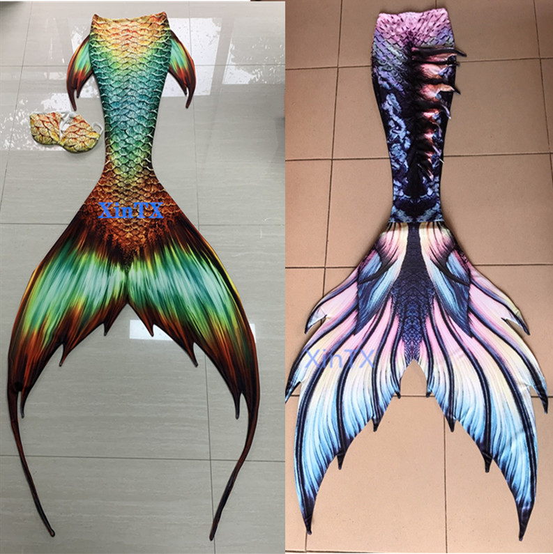 2020 HOTAdult Kids Customize Swimable Mermaid Tails With Flipper Beach Costumes Mermaid Swimsuits Mermaid Cosplay