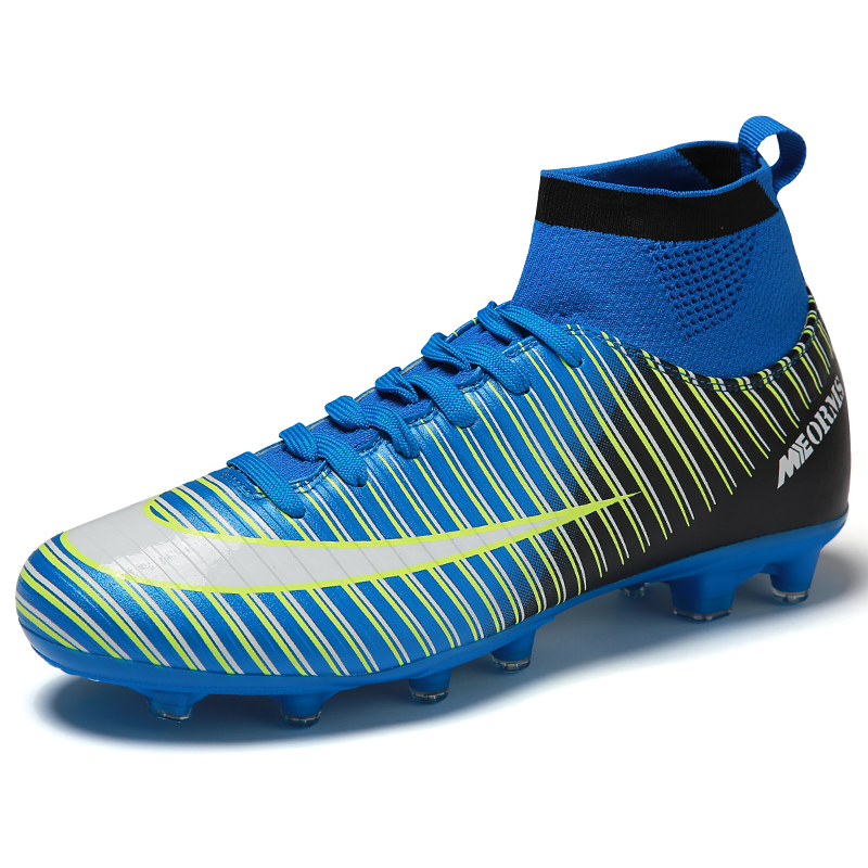 Men's Black Orange High Ankle AG Sole Outdoor Cleats Football Boots Shoes Soccer Cleats TF Turf Sole Football Shoes  Kids