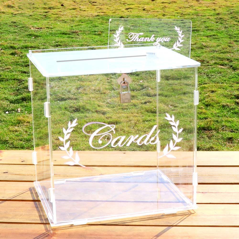 OurWarm 2020 New Wedding Card Box Acrylic Clear Innovation Card Box Wedding Anniversary Baby Shower Decorations Card Box 25.5*23