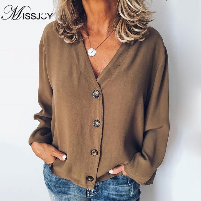 MISSJOY Women Shirt 2020 Spring New Cardigan V-Neck Button Plus Size Ladies Casual Long Sleeves Elegant Office Blouse Tops Black 1
