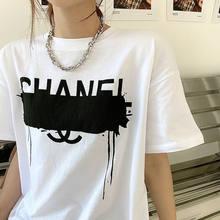 Casual tendência de manga curta feminina verão 2021 novo estilo coreano design de estilo meados de comprimento letras soltas blusa feminina tshirt