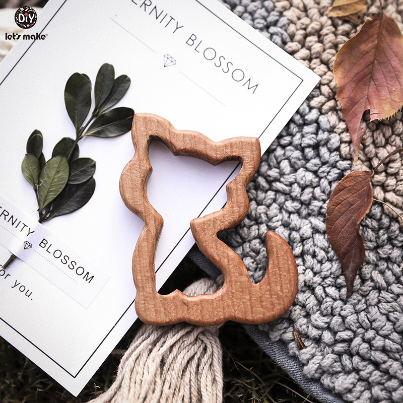 Let'S Make 10Pcs Baby Wood Teether Animals Shape  Elm Olive Oil Baby Wooden Teether Toys Wood Color Oral Care Product