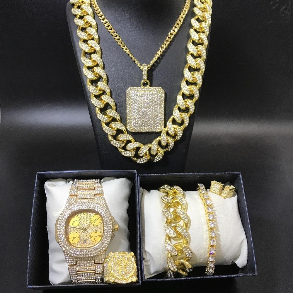 Helado Combo Set Cubano Cadena Pulsera Diamond Collar Brillante Joyas para hombre