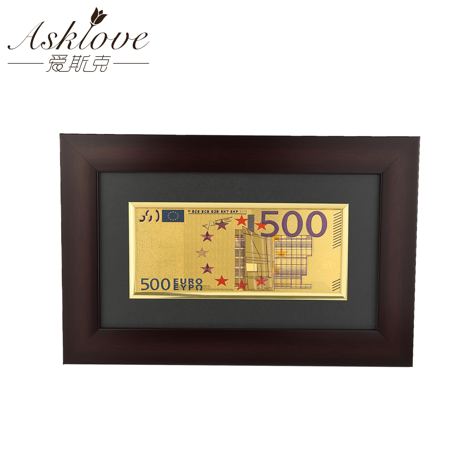 EUR Gold Banknotes Framed painting Fake Money for Collection Souvenir 500 Euro Banknote Gifts Wall art pictures Home decoration