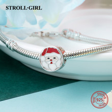 NEW 925 Sterling silver Santa Claus Red&white enamel charms Fit Pandora Bracelet Pendant bead Jewelry Making for Christmas gift