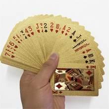 24K الذهب أوراق اللعب بطاقات بوكر بلاستيكية لعبة سطح السفينة احباط بوكرز حزمة بطاقات سحرية مقاوم للماء بطاقة هدية مجموعة القمار مجلس لعبة