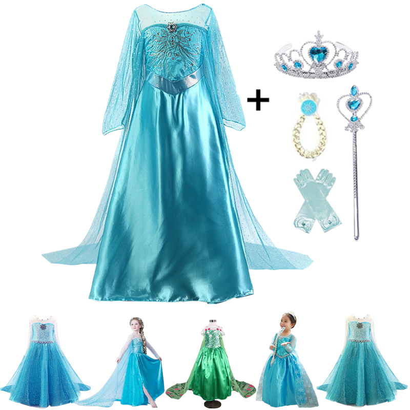Elsa Dress Girls 2020 New Anna Elsa Costumes Children Birthday Party Cosplay Costumes Long Sleeves Dress For Kids Girls Vestidos