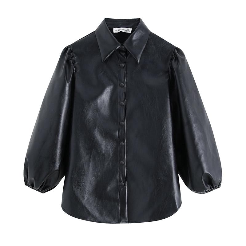 Vintage Black PU Faux Leather Blouse Shirt Women 2019 Fashion Turn Down Collar Lantern Sleeve Shirt Streetwear Blouse Top Blusas