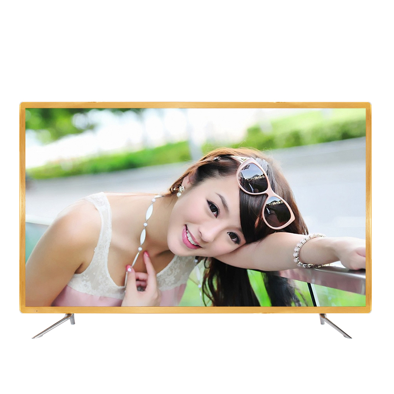 Gold color frame 43 50 55 60 65 inch youtube TV android OS smart wifi internet LED 4K television TV image