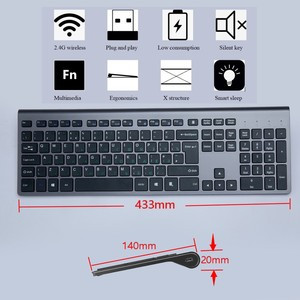 Image 2 - Russian Wireless Keyboard Mouse set Rechargeable 106 Keys Full Size Wireless Keyboard and 2400 DPI Mouse,For Laptop PC Computer