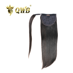 QWB Straight Ponytail Free Shipping Brazilian Virgin Hair Wrap Around Clip in 14~22 Inch