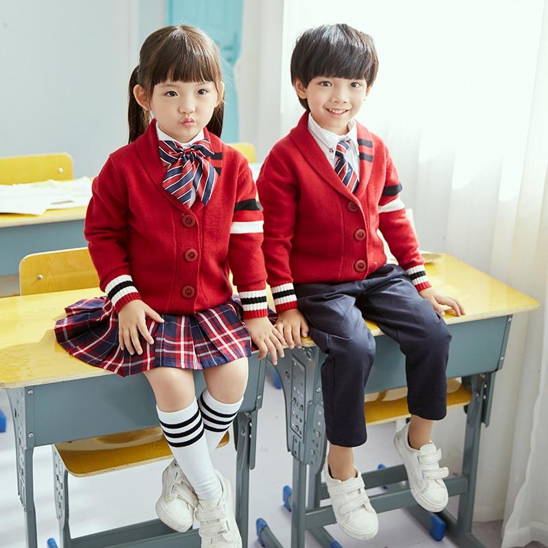 2019 Spring New Style Primary School STUDENT'S School Uniform CHILDREN'S Knit Cardigan School Uniform Set Kindergarten Suit