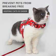 Reflective Dog Cat Harness Leash Set Breathable Adjustable Printed Vest Chest Strap for Cats Outdoor Walking Cats Accessories