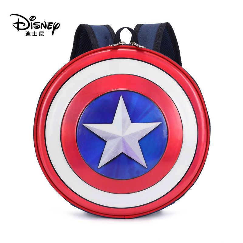 Disney Backpack Captain America Cartoon Childrens Mini School Bag Round Travel Childrens Bags Waterproof Backpacks For Boy Girls
