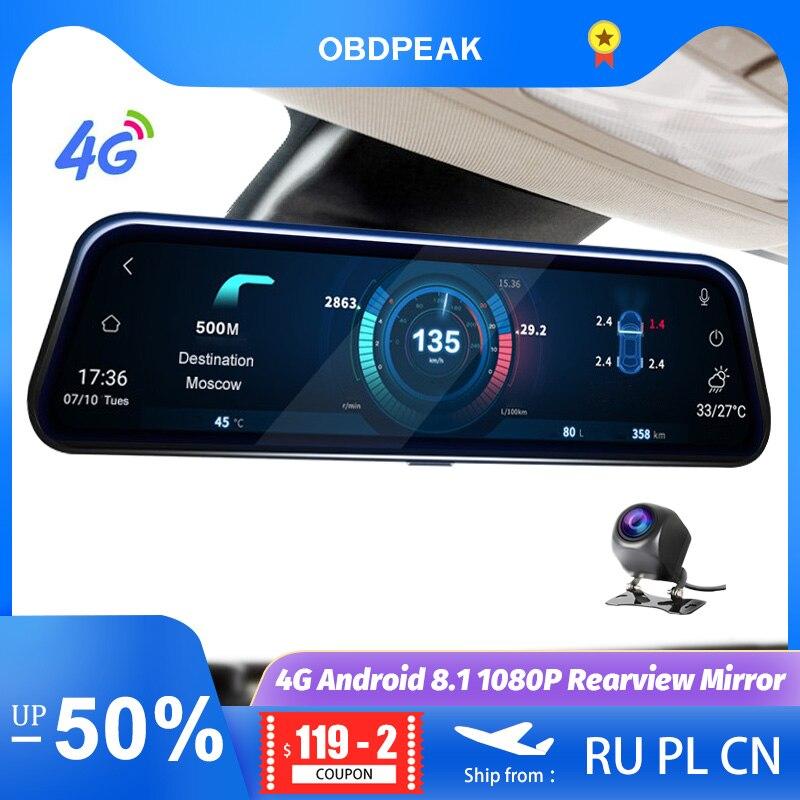 A980 Smart Specchio Retrovisore Della Macchina Fotografica 10 4G Android 8.1 Car DVR Dual Lens 1080P Dash Cam Registrar video Registratore GPS WIFI Specchio
