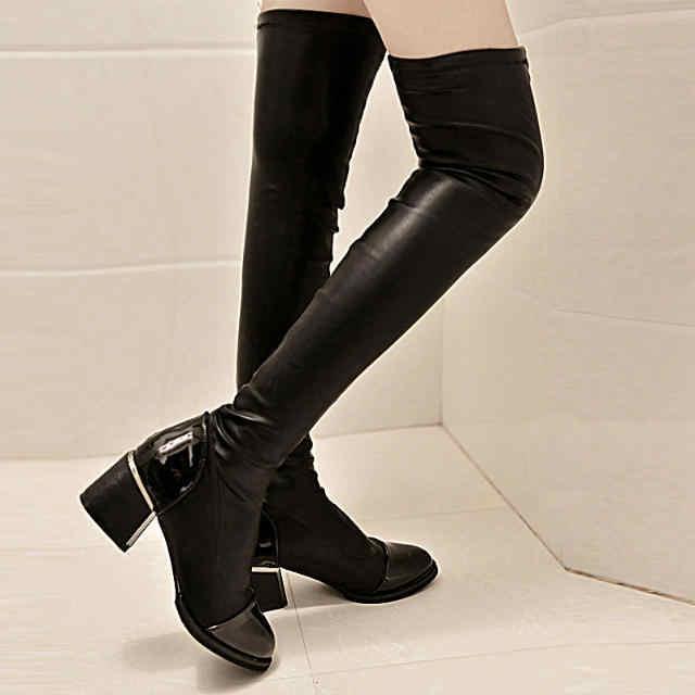 แฟชั่นผู้หญิงเซ็กซี่ฤดูใบไม้ร่วงฤดูหนาวหนารองเท้าส้นสูงกว่าเข่ายืดรองเท้าหนังนุ่มสุภาพสตรี Slim ต้นขาสูงรองเท้า sapatos