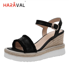 HARAVAL2019 summer fashion wedges shoes for women solid color simple sandals shine rhinestone high heels brand luxury S132