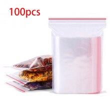 100pcs Resealable Zip Lock Bags Self Seal Clear Plastic Poly Ziplock Bag Food Storage Package Reclosable Vacuum Fresh Bag