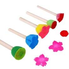 5 pçs pintura elástica esponja crianças aguarela doodle desenho escova selo criança brinquedo educativo de madeira diy pintura esponja escova
