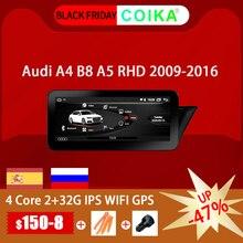 アンドロイド 10.0 システムのgpsレシーバーアウディA4 A5 2009 2016 rhd ipsミラースクリーンラジオgoogle carplay wifi bt swc dvrマルチメディア
