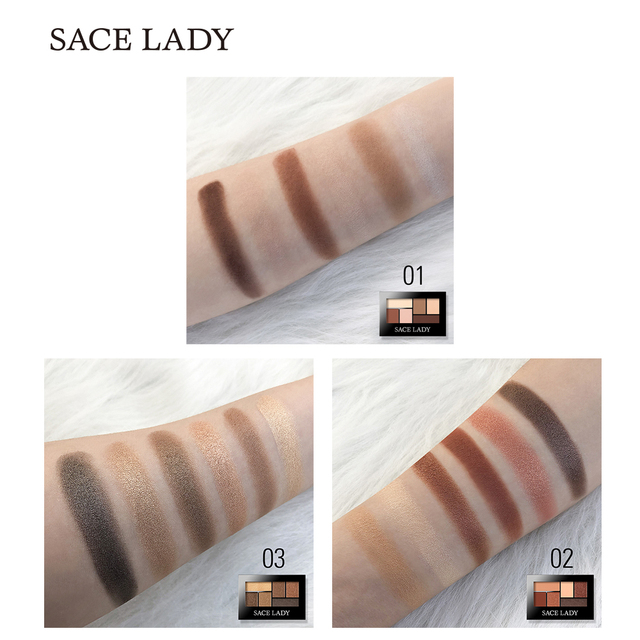 SACE LADY Glitter Eyeshadow Palette Waterproof Makeup Pigment Cosmetics 6 Colors Shimmer Eye Shadow Pallete Matte Naked Make Up 3