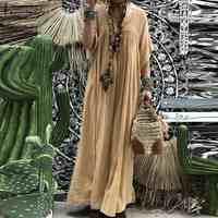 Boêmio feminino rendas crochê maxi vestido longo zanzea verão v pescoço alargamento manga sólida sundress kaftan festa praia vestido baggy