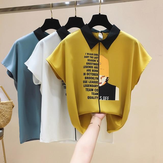 Womens For Blouses 2021 Ladies Tops Chiffon Blouse Short Blusas Feminina Shirts Batwing Sleeve Print Button Korean Clothing 0133 4
