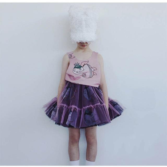 Girls Clothing Sets 2020 Summer Caroline Baby Flower T-shirt Cartoon Tutu Skirts Caps Girl Dress Party Suits Children Clothes 3